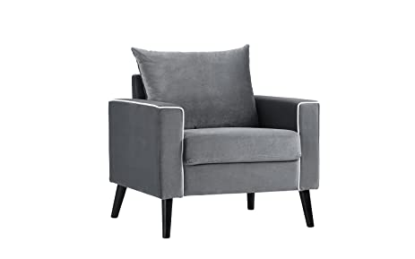 Mid Century Modern Velvet Fabric Armchair Living Room Accent Chair Dark Grey
