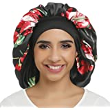 Large Satin Bonnet Double Layer Sleep cap Printing Sliky bonnet Wide Elastic Band for Women Haircare,Curly Natural Long…