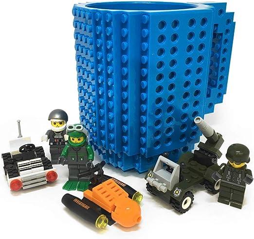 Fashion Electronics Taza con bloques de construcción de diferentes colores incluye 1 personaje al azar y bloques de construcción al azar Azul Acero