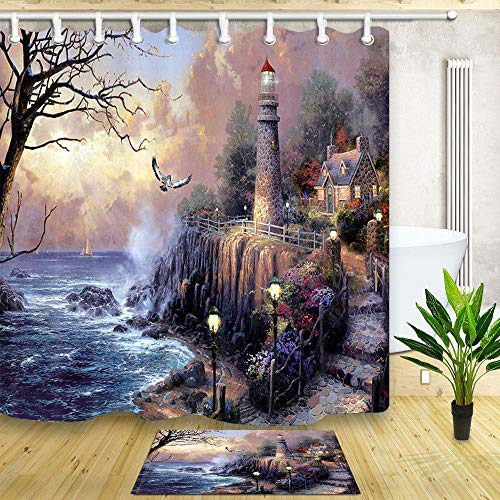 NYMB Lighthouse Shower Curtain, Painting Lighthouse by Ocean Coast with Wooden House Bath Curtain, Waterproof Polyester Fabric Shower Curtains Set with Matching Bathroom Bath Rugs,70X70in (Multi6) (Fabric Lighthouse Shower Curtain)