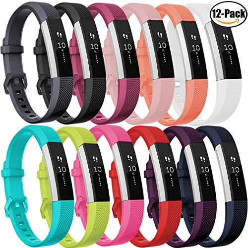 GEAK Fitbit Alta Bands and Fitbit Alta HR Bands, Sports Replacement Accessorries Wristband with Watch Buckle,12 Pack Small and Large