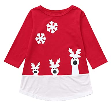 3e9c40336 Amazon.com: Girls Christmas Outfits 🎅 Cute Deer Snowflake Print Splicing  Cotton Long Sleeve Casual Party Costumes Dress Xmas Clothes: Clothing