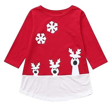 56ada03e2a K-youth Fashion Vestido para niña Navidad víspera Reno Nieve Christmas Ropa  Bebe niña Invierno