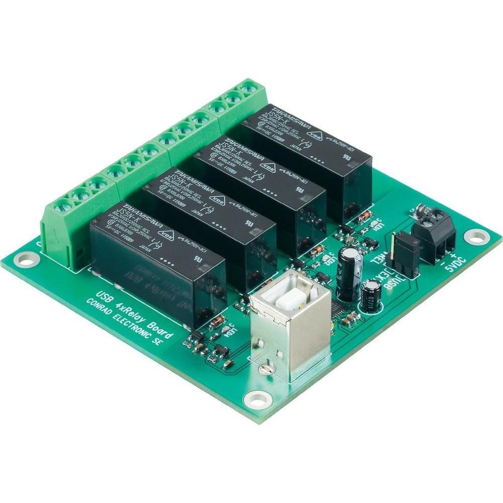 Module carte relais USB Conrad 393905 (Kit monté ) 5 V/DC Puissance de sortie 24 V/DC - 8 A 4 sorties relais 1 pc(s)