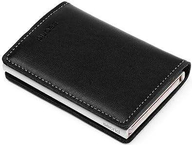Secrid Slimwallet - Cartera de piel con tarjetero (protección de tarjetas con identificación por radiofrecuencia), color negro