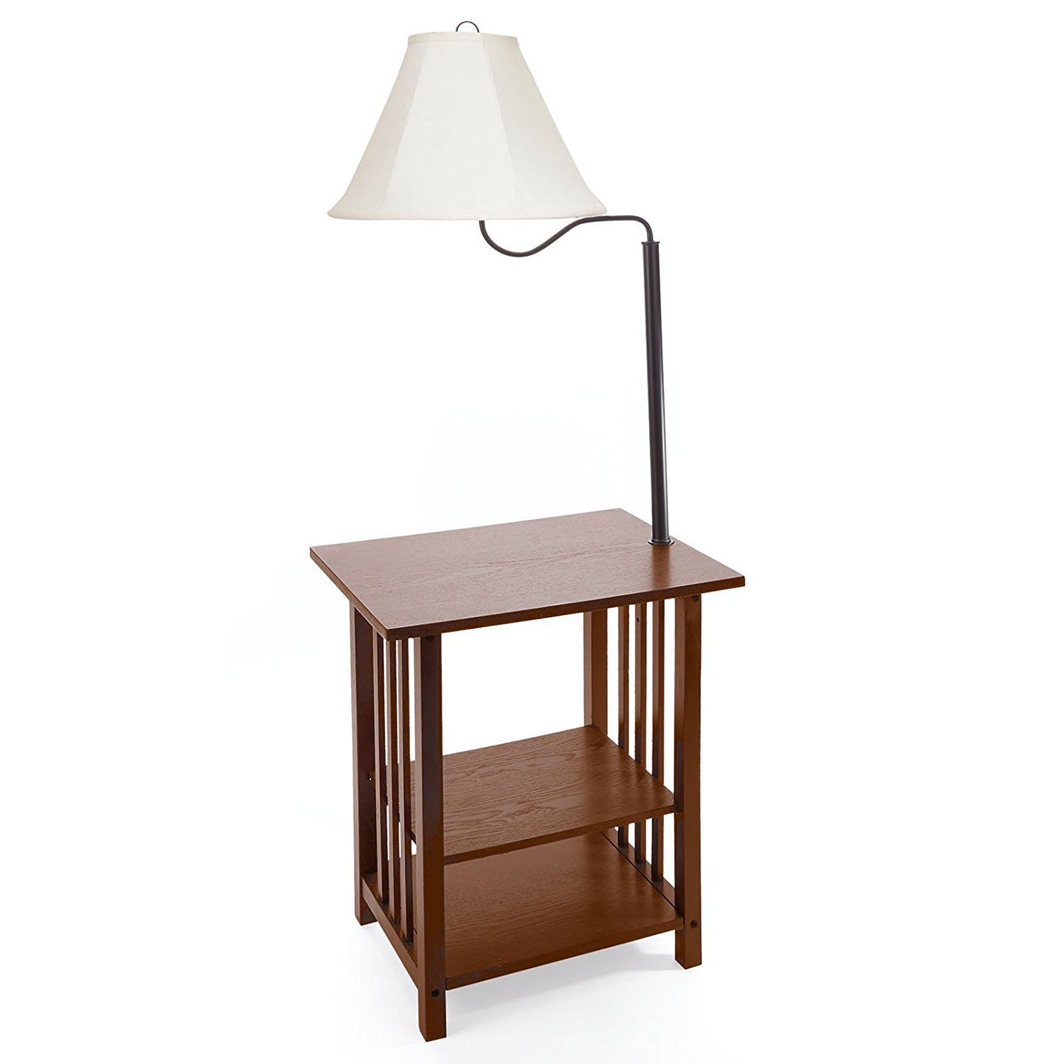 Lamp Table Combination, Floor Lamp Table with Shelves and Swing Arm, Magazine Rack Table with Lamp, Gorgeous End Table With Lamp, Elegant Floor Lamp with Attached End Table, Floor Lamp with Table