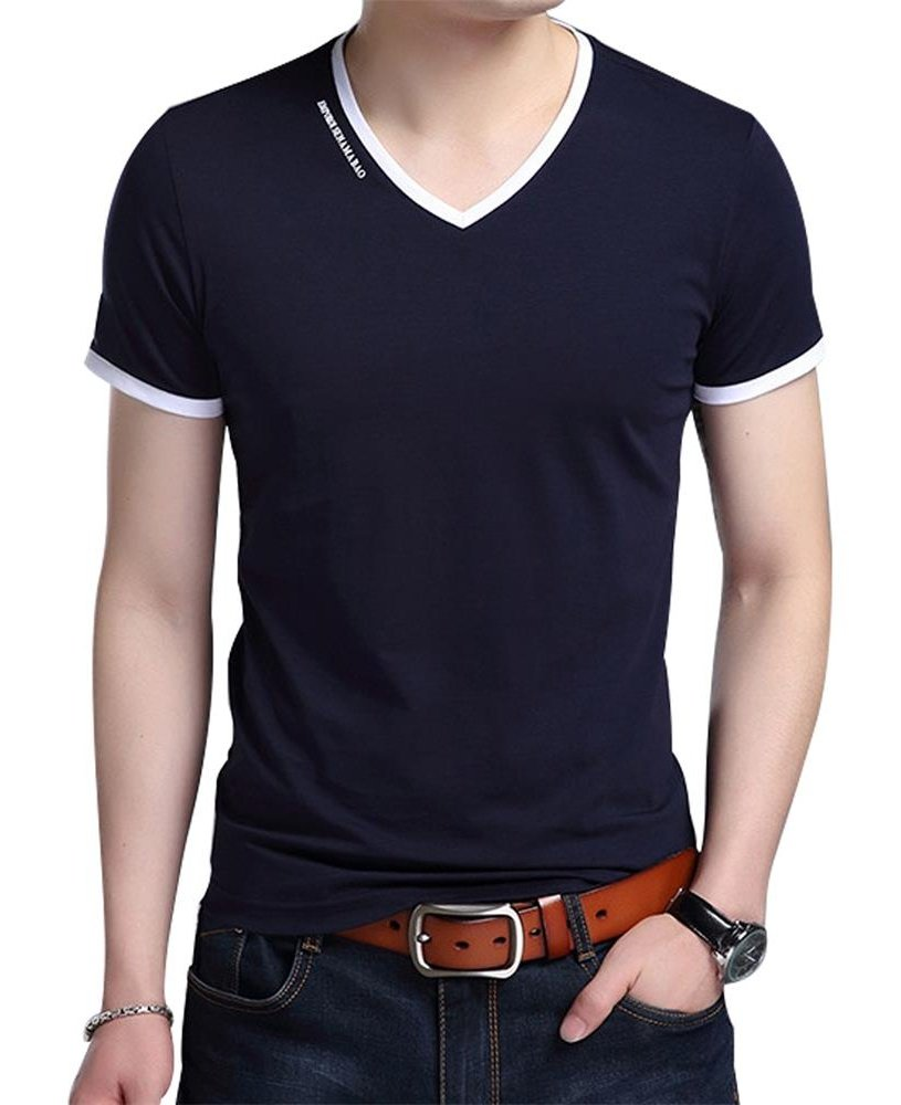 JNC Men's Summer V-Neck Casual Slim Fit Short Sleeve T-Shirts Cotton Shirts (Medium, Navy Blue)