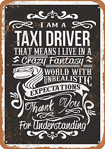 (LUCY PARSONS Warning Sign Crazy Taxi Driver -Safety 12x16 inch Tin Sign)