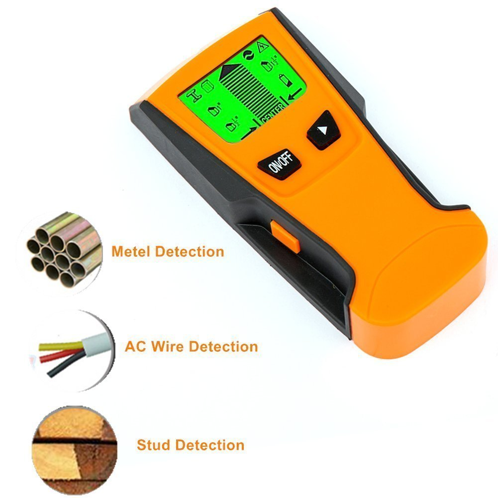 Auto Calibration Stud Finder, Meer 3-in-1 Electronic Stud Center Finder, Metal and AC Live Wire Detector, Multifunctional Wall Scanner High Precision Detector Ampere Meters with Backlit LCD Screen