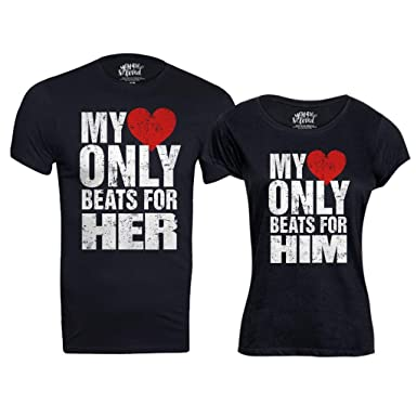 43bc068ccf Bon Organik Cotton Heart Beat, Matching Couples Valentines Day Tshirts/Printed  Cotton T-