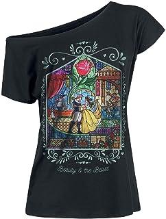 La Bella y La Bestia Fenster Camiseta Mujer Negro