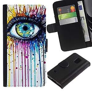 Azul Crayon fusión del color del arco iris- la tarjeta de Crédito Slots PU Funda de cuero Monedero caso cubierta de piel Para Samsung Galaxy S5 V SM-G900