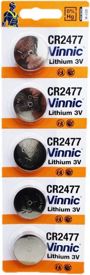 Vinnic CR2477 3V Lithium Cell 5 Batteries EXP. 2028