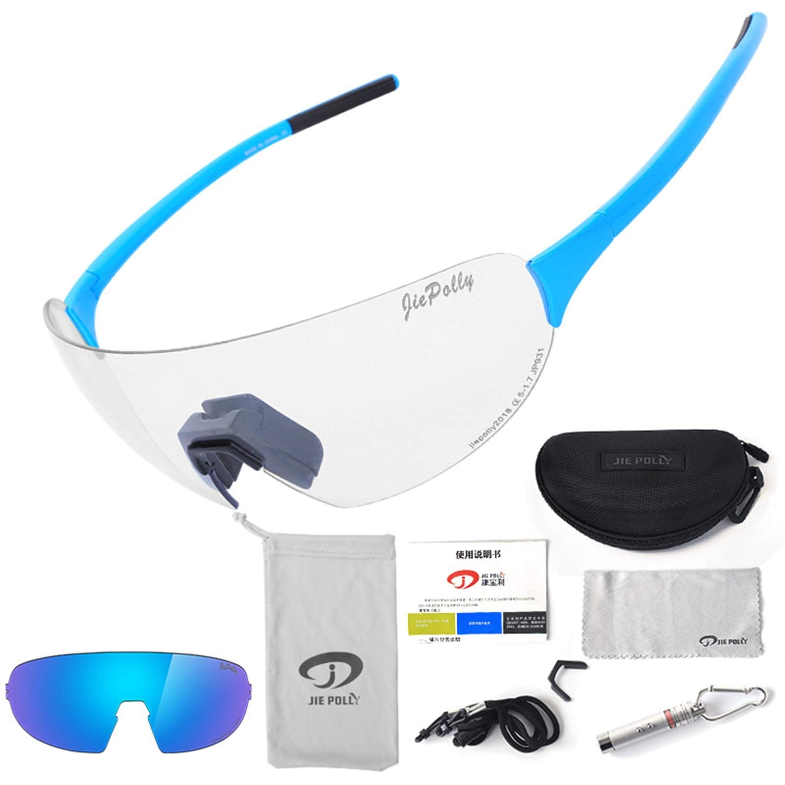 Adisaer Outdoor Bicycle Goggles Outdoor Sports Riding Color-Changing Glasses Men and Women Running Fishing Bicycle Windproof Polarized Glasses Blue Upgrade 2 for Adults