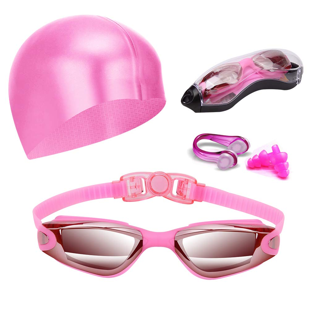 Hurdilen Swim Goggles, Swimming Goggles Anti-Fog UV Protection Coated Lens No Leaking with Swim Cap,Nose Clip,Earplugs,Case for Men Women Adult Youth Kids (Type B-Pink)