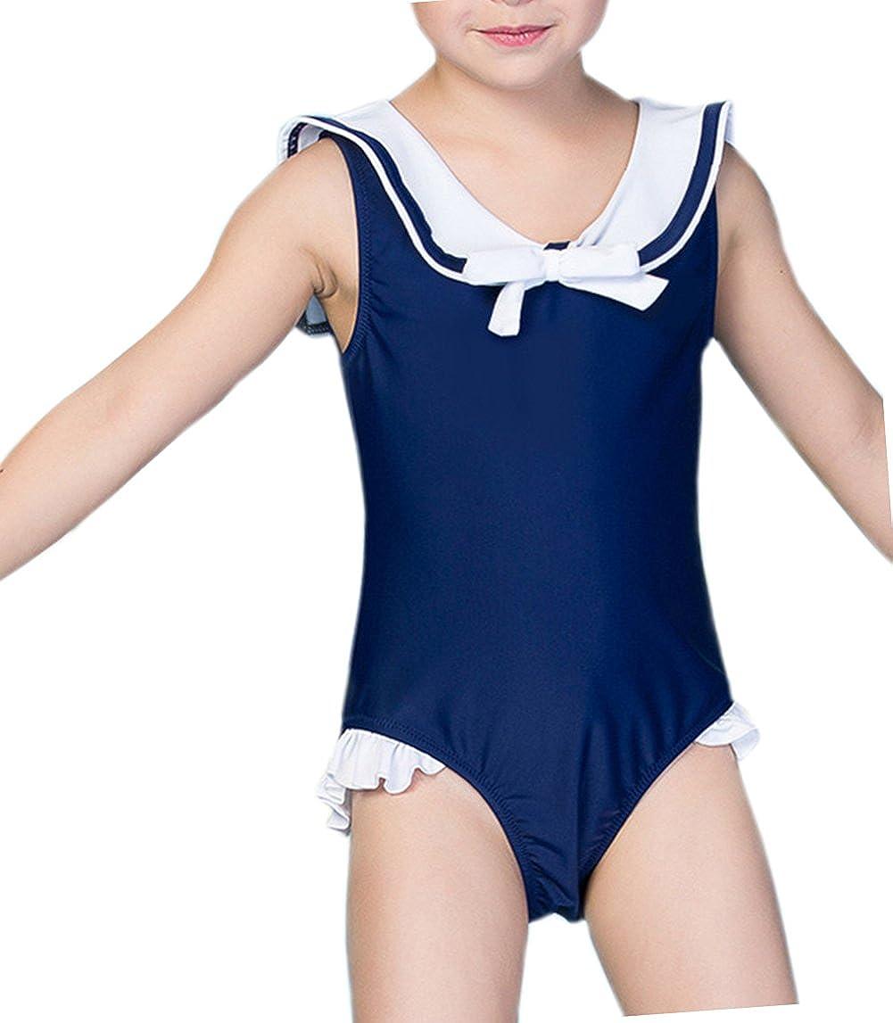 TAIYCYXGAN Baby Toddler Girls One Piece Swimsuit Navy Nautical Sailors Bathing Suit Kids Ruffle Rash Guard