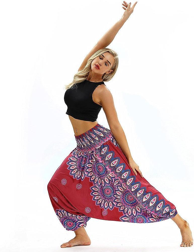 TUDUZ/Pantalones Har/én/Aladdin Mujer Holgado Boho Hippy Pantalones Deportivos Mono Casual
