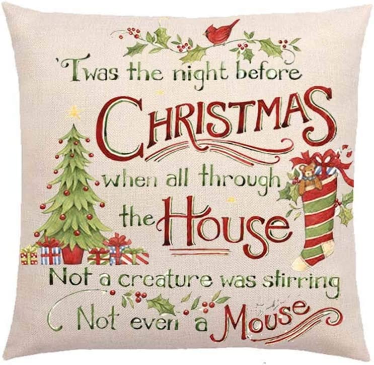 SLS TWAS The Night Before Christmas When All Through The House Cotton Linen Decorative Throw Pillow Case Cushion Cover Lion Piillow case 18
