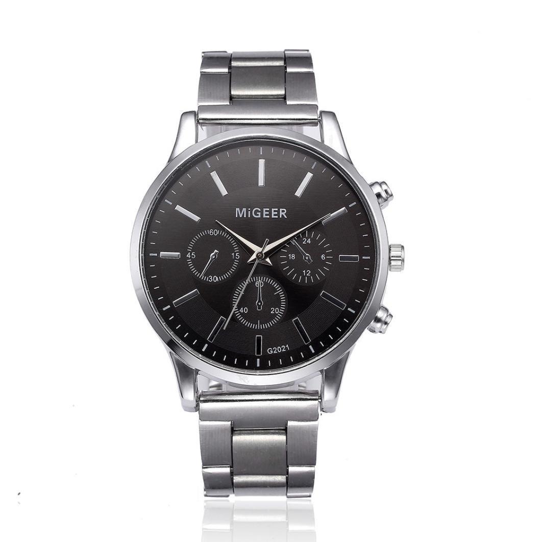Reloj de cuarzo analógico retro para hombre, QinMM correa de acero inoxidable reloj de negocios (Negro): Amazon.es: Relojes