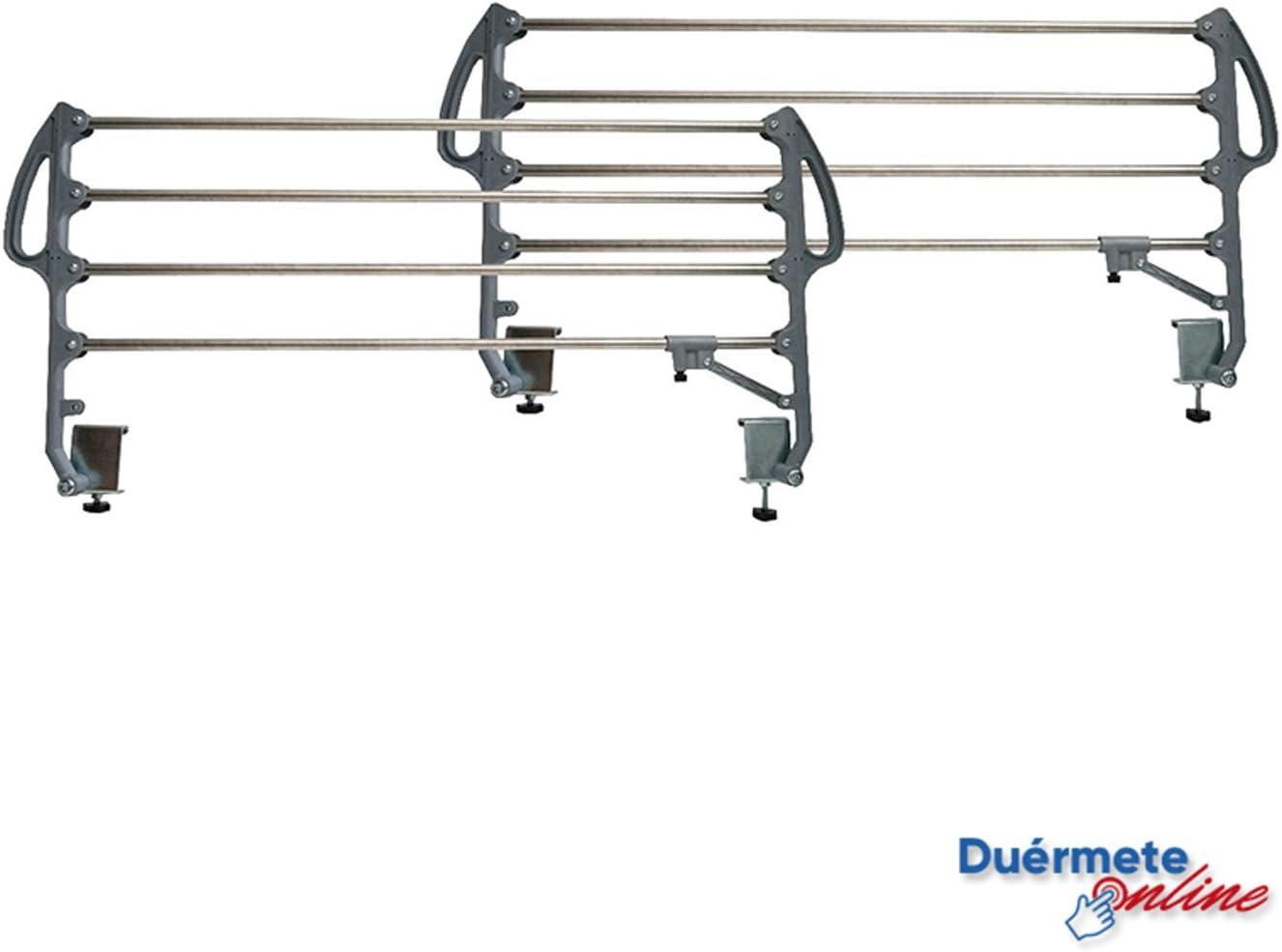Duérmete Online Juego de Barandillas Metálicas Geriátricas Abatibles Reforzadas para Cama Articulada con 4 Barras, Prácticas y seguras, Universal