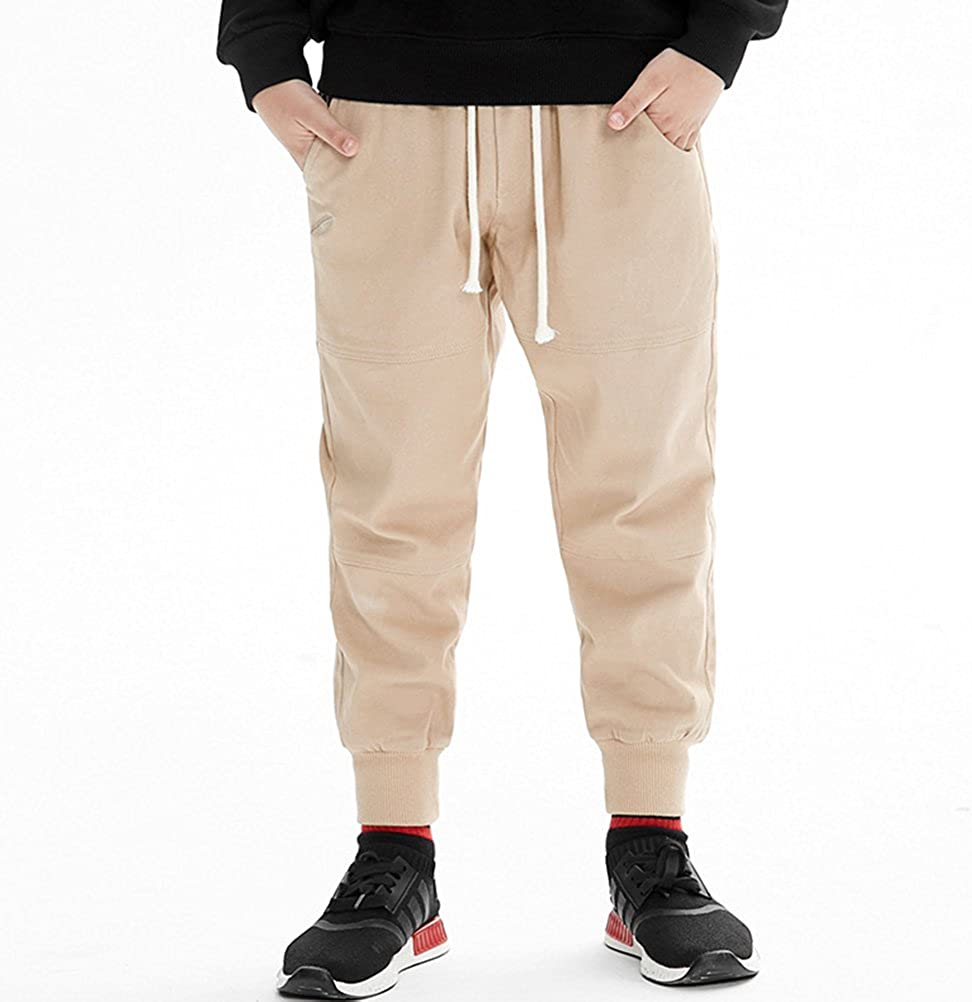 3-8 Years ,4//5T,Khaki Y/·J Back home Chino Pant for Boys,Boys Slim Twill Chino Jogger Pant Kids Cotton Trousers with Drawstring