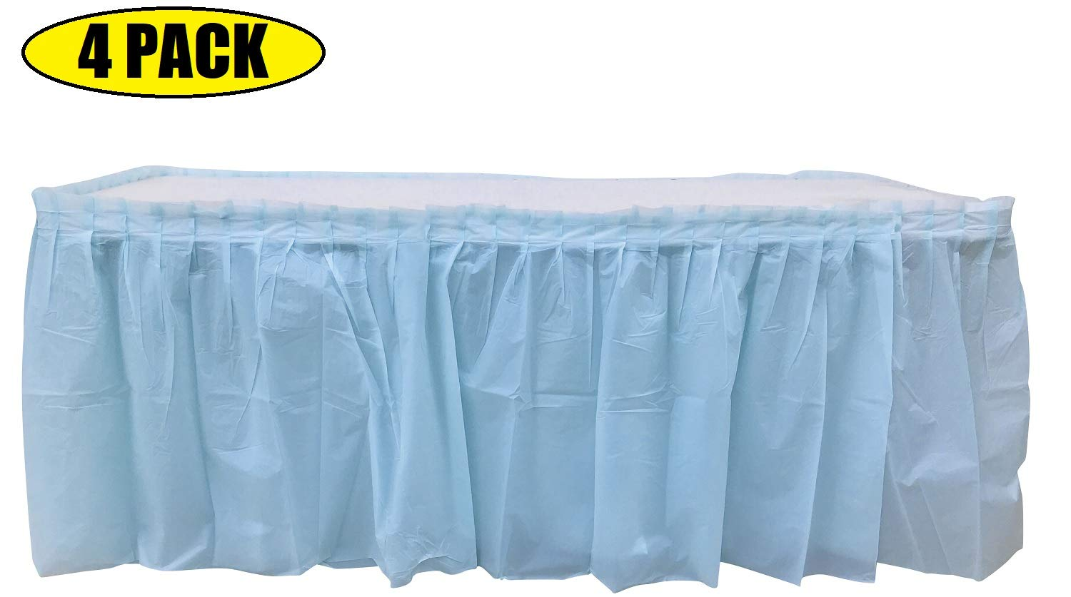 4 Pack Light Blue Table Skirt Carnival, Circus, Birthday, office, party Decorations, Baby Shower, Gender Reveal by Oojami