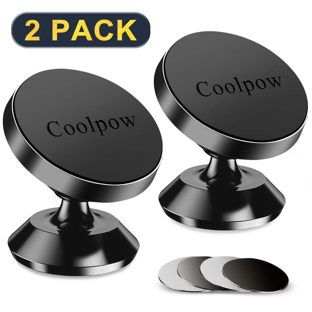 [ 2 Pack ] Magnetic Phone Mount, [ Super Strong Magnet ] [ with 4 Metal Plate ] car Magnetic Phone Holder, [ 360° Rotation ] Universal Dashboard car Mount Fits iPhone Samsung etc Most Smartphones by Coolpow