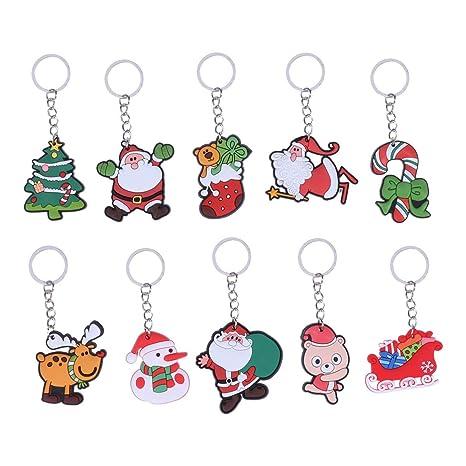 LIOOBO paquete de 10 llavero de navidad santa cartoon ...