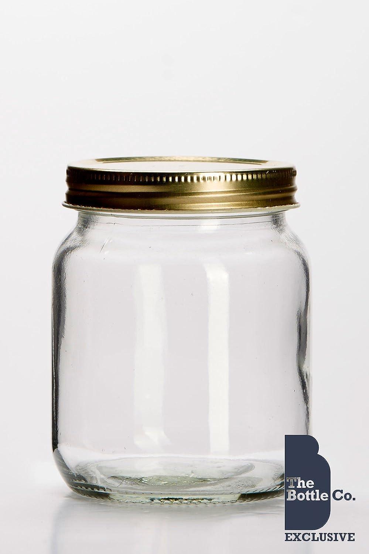 BOTTLE COMPANY 72X1LB/345ML APPROX ROUND GLASS HONEY JAR , CANDLE, SWEET, WEDDING FAVOUR JAR C/W GOLD LIDS