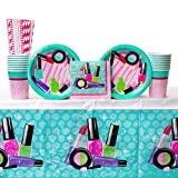 Sparkle Spa Party Supplies Pack Bundle for 16 Guests: Straws, Dessert Plates, Beverage Napkins, Cups, and Table Cover