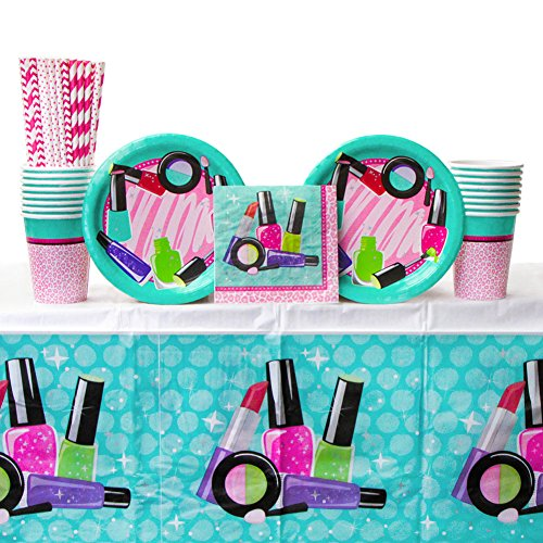 - Sparkle Spa Party Supplies Pack Bundle for 16 Guests: Straws, Dessert Plates, Beverage Napkins, Cups, and Table Cover