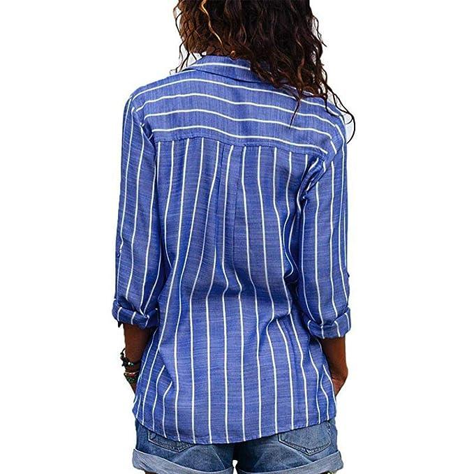 YunYoud Damen Gestreiftes Langarmhemd Knopfleiste leinenbluse Damen Blau  Gestreifte Bluse schlupfblusen Lange Gepunktete Transparente Elegante Abend  Blusen  ... 867ea1620d