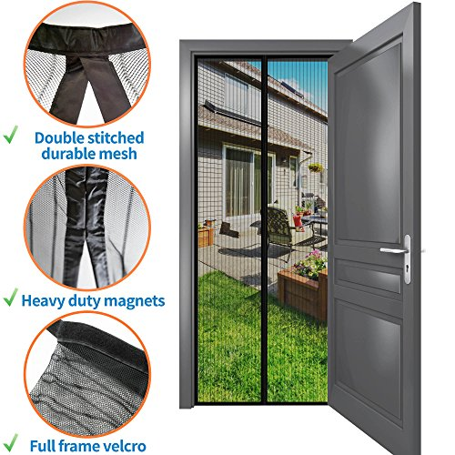 Magnetic Bug Screen Door 34''- 82'': No More Mosquito & Insect Bites at Home! Instant Retractable Mesh Curtain with Snap Magnets & Push Pins for Balcony, Patio & Porch, Removable, Easy Installation (Mosquito For Porch Net)