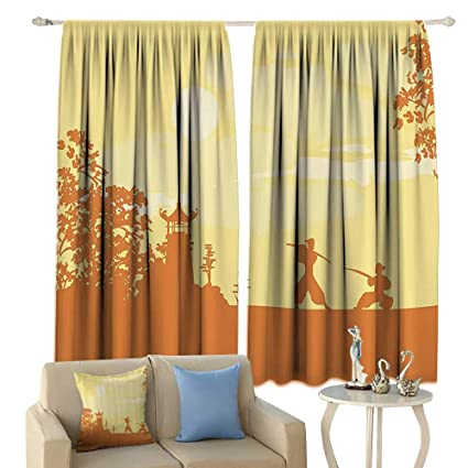 Amazon.com: cobeDecor Japanese Thermal Curtains Silhouette ...