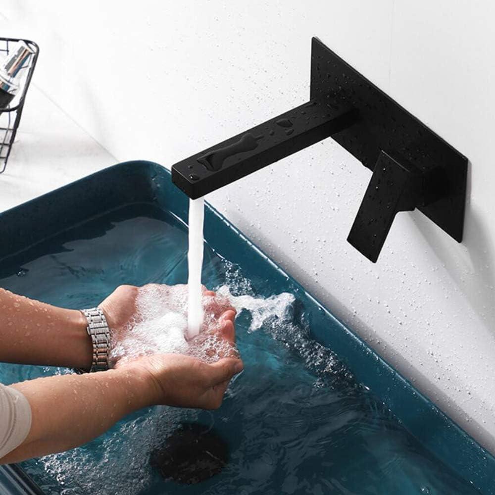 Grifo Lavabo Pared Grifería De Baño Montado En La Pared Moderno Grifo Cascada Bañera Baño Monomando Agua Fría Y Agua Caliente (black)