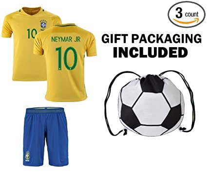 394d84de2eb9b Neymar Jr  10 Brazil Youth Home Away Soccer Jersey   Shorts Kids Premium  Gift