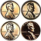 1956-1959 S Lincoln Memorial Cent Gem Proof Run 4 Coins US Mint Penny Lot Complete 1950's Set