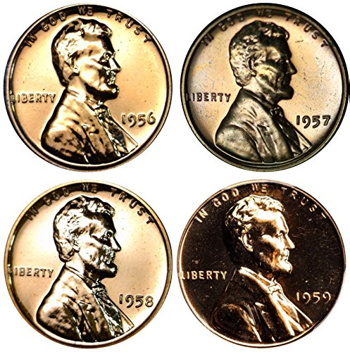 1956-1959 S Lincoln Memorial Cent Gem Proof Run 4 Coins US Mint Penny Lot Complete 1950's Set - Lincoln Memorial Penny Proof