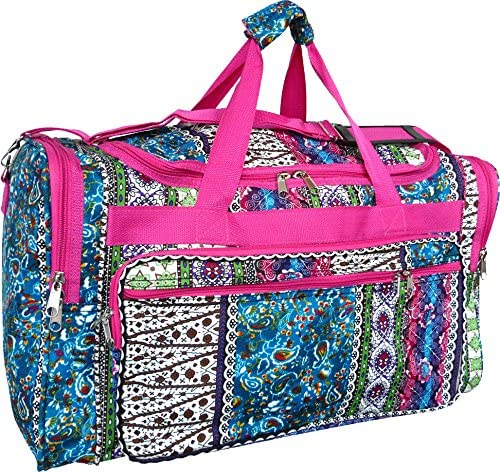 19 Pink Patchwork Boho Duffle Carry On Dance Cheer Travel Tote Gym Luggage