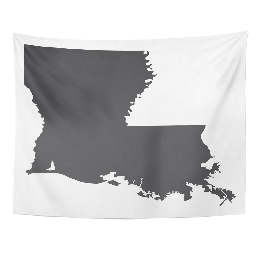 TOMPOP Tapestry Silhouette Louisiana State Map in Black on Abstract America Home Decor Wall Hanging for Living Room Bedroom Dorm 60x80 Inches
