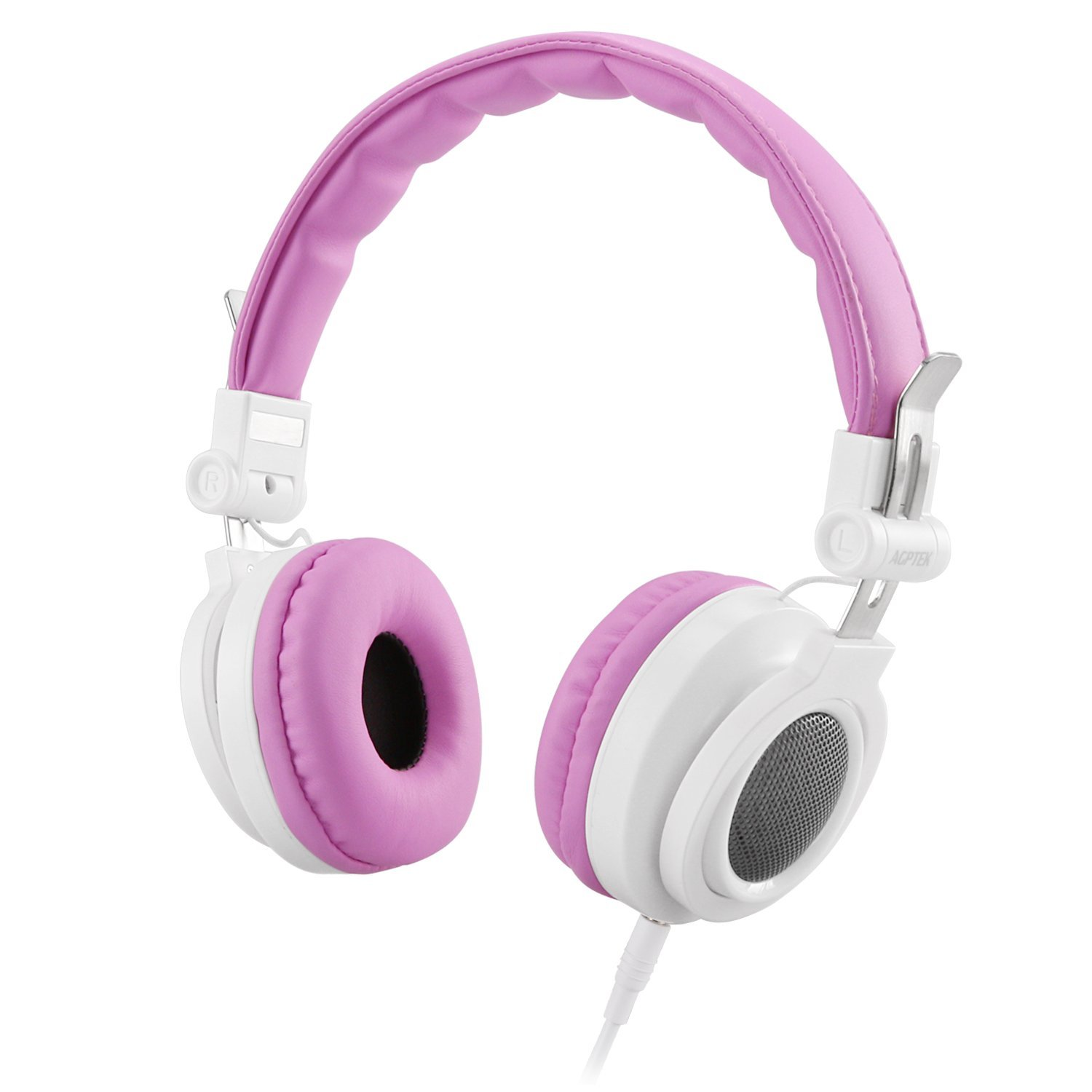 AGPTEK Kids Headphones Over Ear, Wired On-ear Children Headsets Volume Control & 85dB Volume Limited for Protection, Detachable cord, Safe Food Grade Material, 3.5mm Audio Jack for Girls, Pink