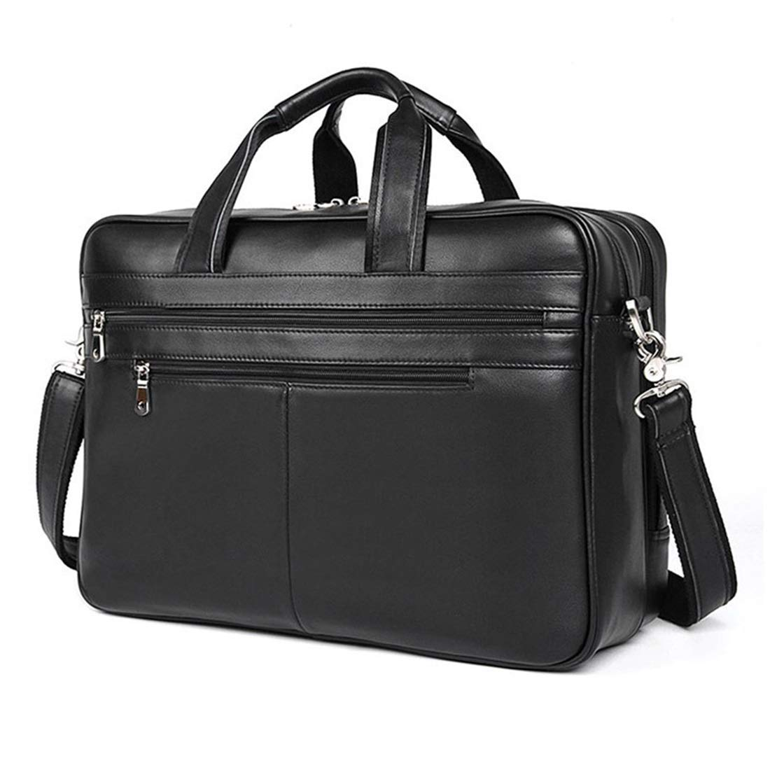 KRPENRIO 本革ブリーフケース メンズ トート ハンドバッグ ショルダー メッセンジャー サッチェルバッグ ノートパソコン MacBook用 (カラー:ブラック)   B07MMDVKRC