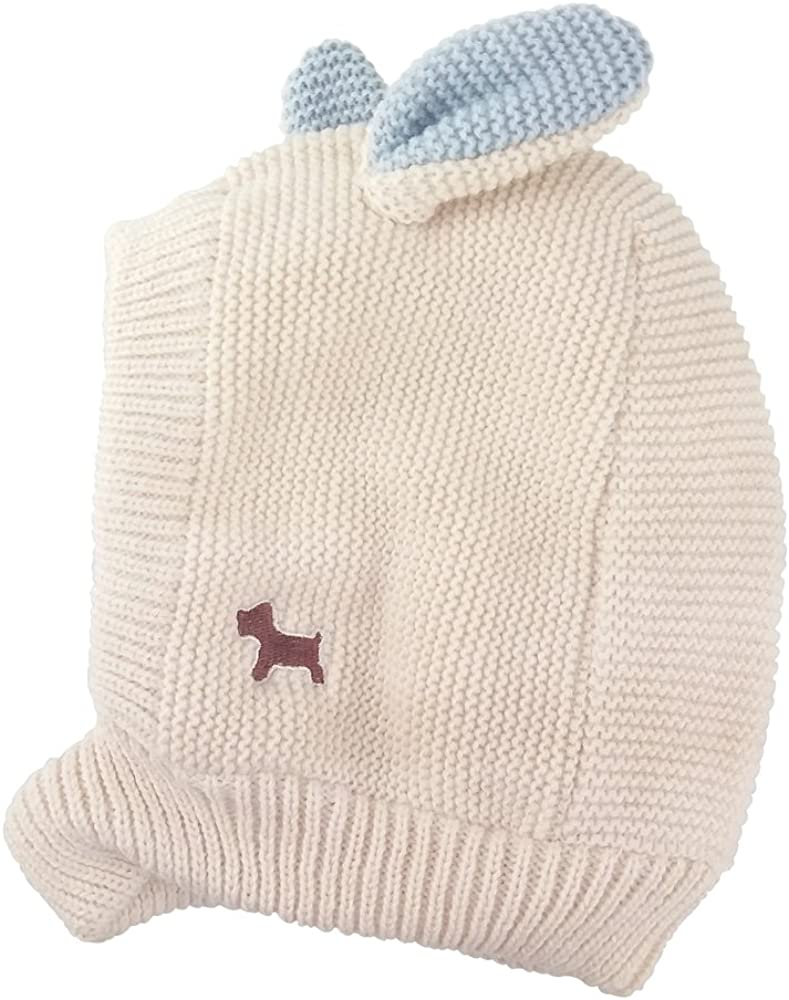 Beanie Scarf Ear Flap Hood Hat Children Kids Baby Boys Girls Winter Ski Knitted Cap