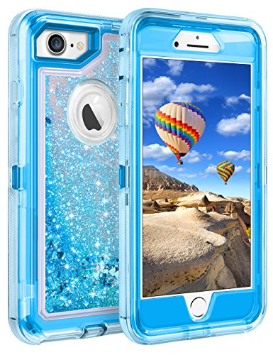 Coolden Case for iPhone 8 Case Protective Glitter Case for Women Girls Cute Bling Sparkle 3D Quicksand Heavy Duty Hard Shell Shockproof TPU Case for 4.7 Inches Apple iPhone 6 6s 7 8, Blue