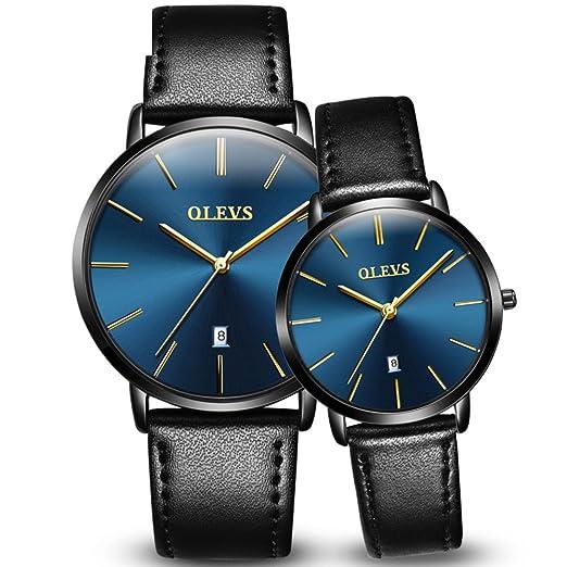 Hombres y mujeres Reloj de cuarzo,30m impermeable Calendario Cuarzo Correa de cuero Reloj Pareja reloj Un par de Diseño minimalista-C: Amazon.es: Relojes