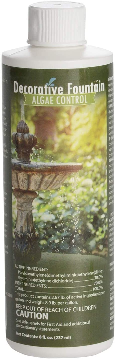 Sanco Industries 88015 Fountain Algaecide, Clarifier Formulated for Small Ponds and Water Features, 8 ounces,1, Yellow