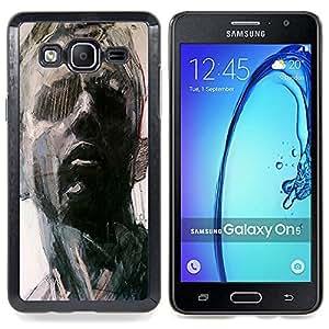 For Samsung Galaxy On5 O5 Case , Retrato del hombre Arte Pintura Piensa - Diseño Patrón Teléfono Caso Cubierta Case Bumper Duro Protección Case Cover Funda
