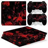 Chickwin PS4 Pro Vinyl Skin Full Body Cover Sticker Decal For Sony Playstation 4 Pro Console and 2 Dualshock Controller Skins (Dark Blood)
