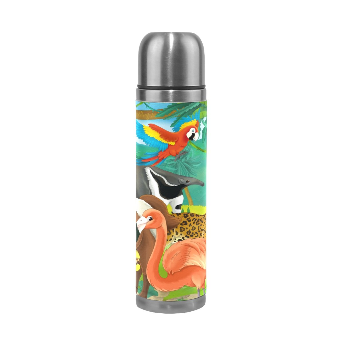 Sunlome Cartoon Jungle Animals Pattern Double Wall Vacuum Cup Insulated Stainless Steel Water Bottle Travel Mug Thermos Coffee Cup 17 oz