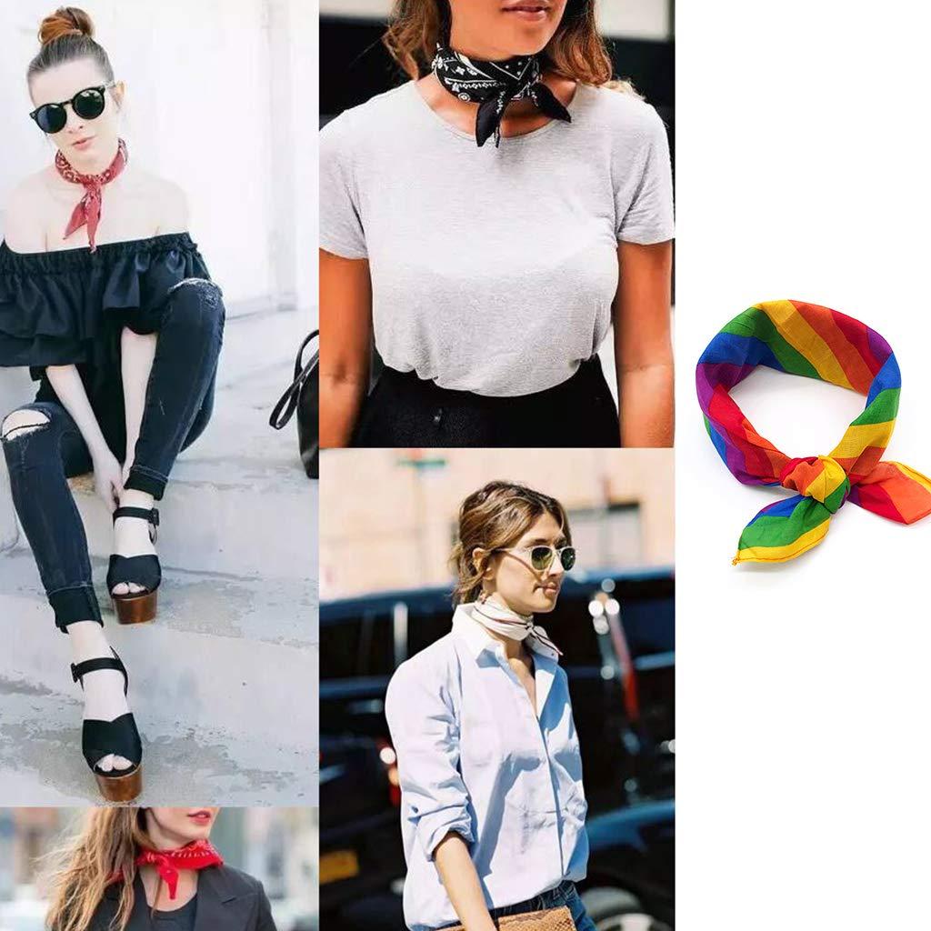2# Lamdoo Festival Rainbow Colorful Seven Stripes 50x50CM Unisex Cotton Pocket Square Scarf Headband Bandana Gay Parade Wristband Neck Tie